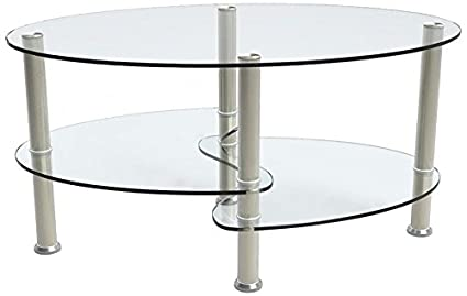 SUNCOO Glass Coffee Table For Home/Office Transparent Oval With 2 Tire Tempered  Glass Boards