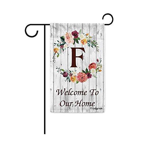 Garden Flag Letter - KafePross Hello Spring Flowers Summer Initial Letter Monogram F Garden Flag Welcome to Our Home Warminghouse Decor Banner for Outside 12.5X18 Inch Double Sided