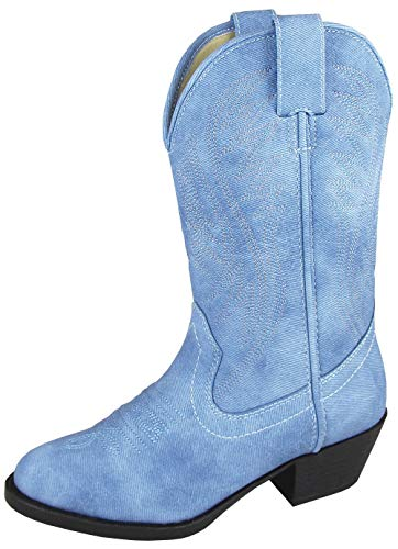 Smoky Mountain Youth Girls Mesquite II Denim Blue Faux Leather Cowboy Boots 5 D -