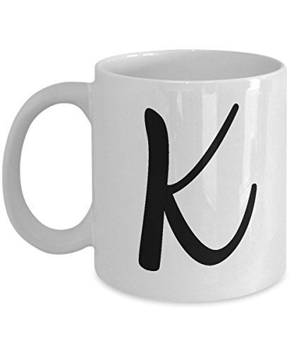 Initial Mug - Letter K Monogram - Cute Novelty Monogrammed Coffee Cup - Perfect Personalized Bridal Shower Or Wedding Gift For Women And Men - Unique Name Gift Idea For Tea Lovers - 11 oz ()