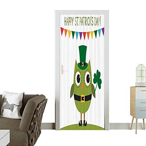 Door Sticker Wall Decals Owl with Leprechaun Costume