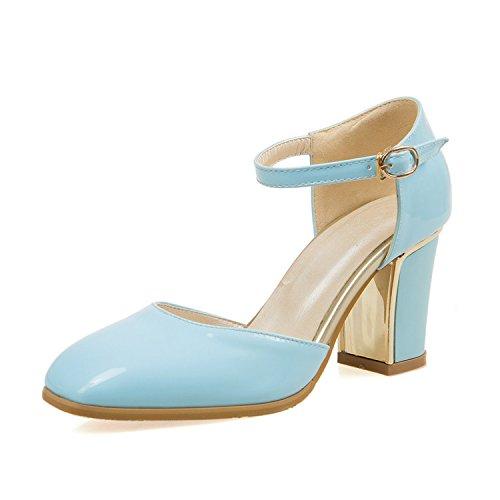 ZHZNVX Sandalias cuadradas con tacón medio para mujeres con tacón medio Blue