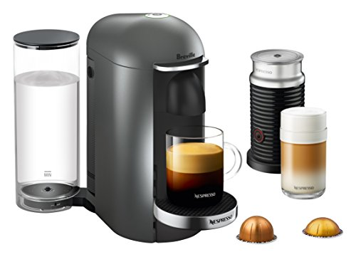 Nespresso VertuoPlus Deluxe Coffee and Espresso Machine Bundle with Aeroccino Milk Frother by Breville, Titan