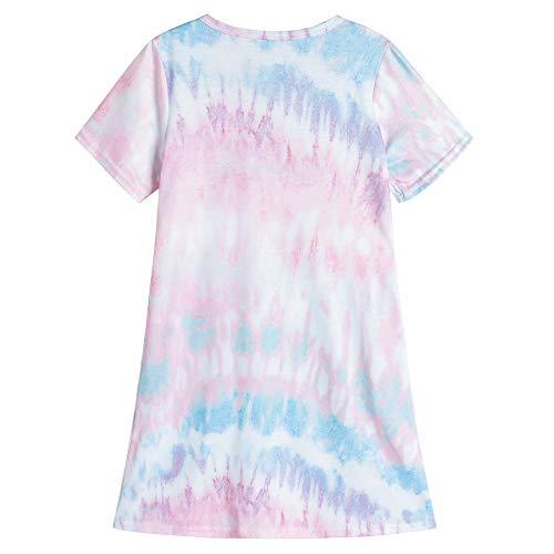 Vopmocld Big Girls' Cute Happy Cat Sleepwear Short Sleeve Summer Soft Nightgown