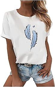 Womens Summer Tops, Women Short Sleeve Feather Print Tops Cute Crewneck Graphic Tee Shirts Comfy T-Shirt Pullo