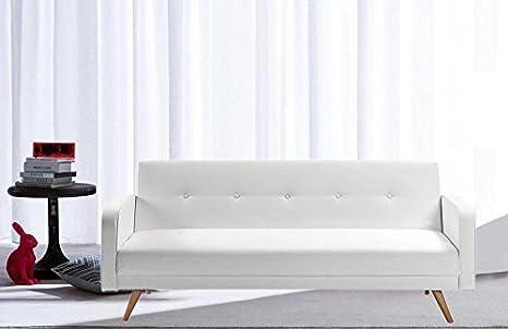 Divani Bianchi Ecopelle : Divano letto ecopelle bianco 3 posti reclinabile piedini legno