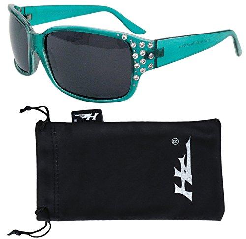 Polarized Sunglasses for Women - Premium Teal Fashion Sunglasses - HZ Series Diamante Womens Designer Sunglasses -