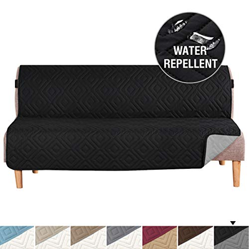 H.VERSAILTEX Futon Cover Reversible Sofa Slipcover Furniture Protector Water Resistant 2 Inch Wide Elastic Straps Futon Sofa Bed Pets Kids Dog Cat Fit Sitting Width Up to 70'(Futon, Black/Beige)