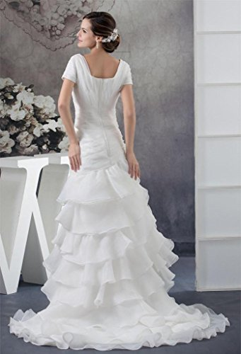Sleeve Dress White Mermaid Long Train Short DZdress Pleated Wedding Women's qwCvxPR