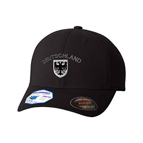 Deutschland Black White German Eagle Flexfit Pro-Formance Embroidered Cap Hat Black Small/Medium