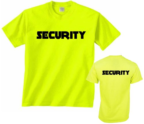 Neon security t shirt front back print mens event shirt for T shirt printing fairlane mall