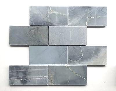 Genoa Blue 3x6 Polished Marble Tile Backsplash Wall Floor