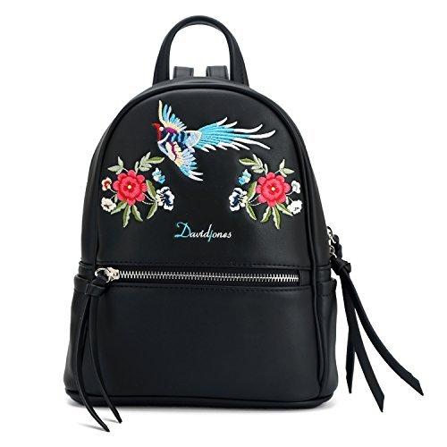 DAVIDJONES Ladies Black Fashion Designer Leather Backpack Leightweight Diaper Mom Bag School Bag for Girls Black Embroidered Leather Backpack