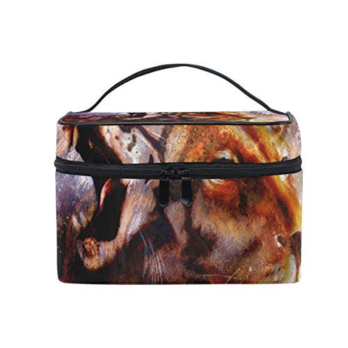 Makeup Bag Abstract Animal Lion Tiger Face Art Cosmetic Portable Storage -