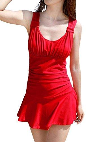 Wincolor - Traje de una pieza - Floral - Sin mangas - para mujer Rosso