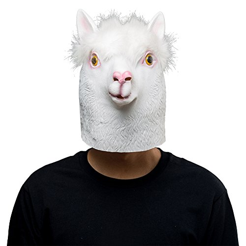 Halloween Animal Latex Masks White Alpaca Sheep Full Face Mask Adult Cosplay Props ()