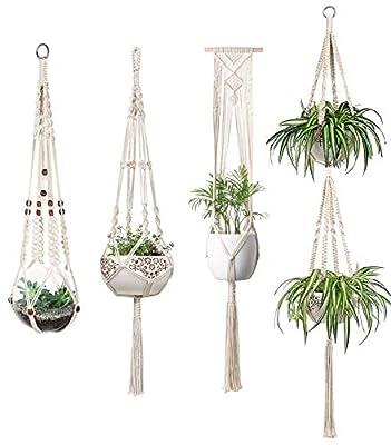 Mkono Macrame Plant Hangers Indoor Wall Hanging Planter Basket Flower Pot Holder Boho Home Decor