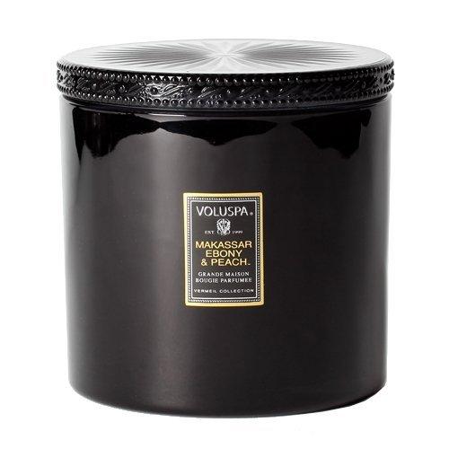 Voluspa Makassar Ebony and Peach Grande Maison Glass Candle With Lid 36 oz Voluspa Black Candle