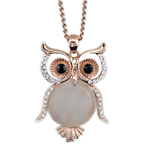 Latigerf Jewelry Women's Lucky Owl of Night Pendant Necklace and Long Chain Created-opal