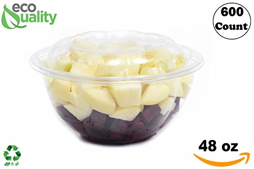 48oz Clear Disposable Salad Bowls with Lids (600 Pack) - Clear Plastic Disposable Salad Containers for Lunch To-Go, Salads, Fruits, Airtight, Leak Proof, Fresh, Meal Prep | Rose Bowl Container (48oz)