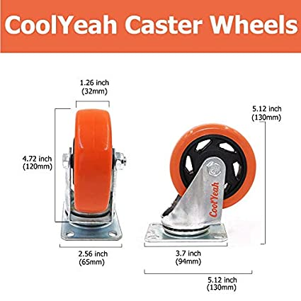 Industrial Pack of 8, 4 with Brake /& 4 Without CoolYeah 3 inch Swivel Plate Caster PVC Wheels Premium Heavy Duty Casters