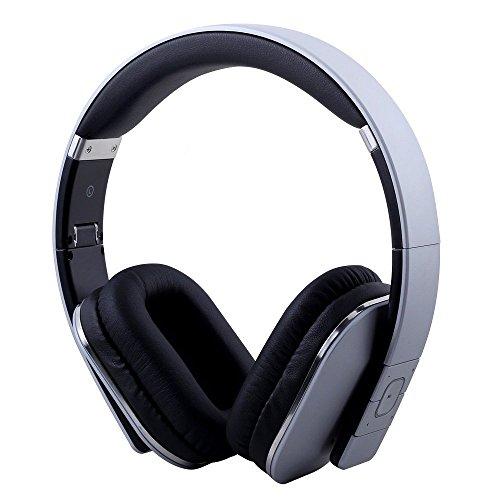August EP650 - Bluetooth NFC Kopfhörer mit aptX Technologie - mit Lederohrpolster (Silber)