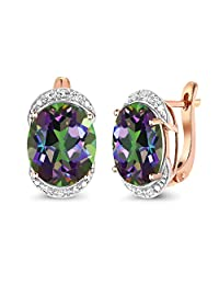 Gem Stone King 8.14 Ct Green Mystic Quartz with Diamond Accent 10K Rose Gold Earrings