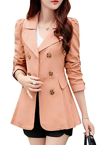 LD Womens Business Solid Double-Breasted Blazer Trench Coat Jackets Pink M by LD-women clothes