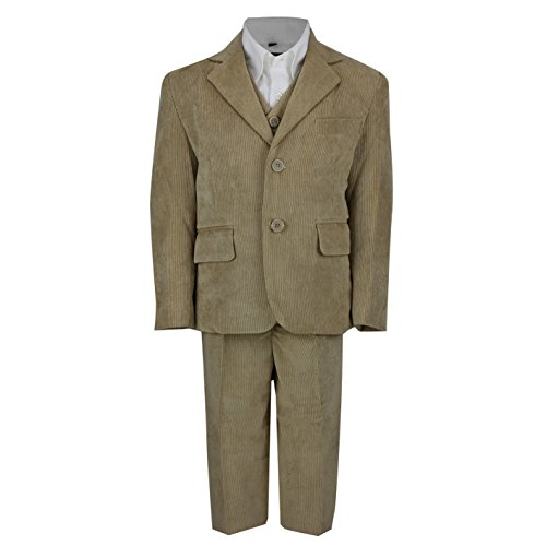 Camel Corduroy (XPOSED Kids Vintage Corduroy 3 Piece Suit In Cream Black Beige, Page Boy, Wedding, Party Age 2-12 Year [Camel,5 Years])