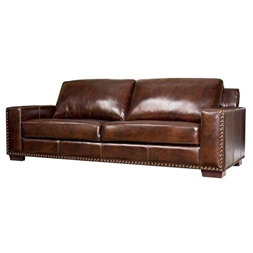 Loveseat Rustic Leather (Abbyson® Beverly Hand Rubbed Leather Sofa, Brown)
