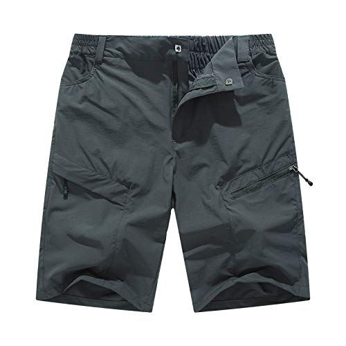 YSENTO Men's Outdoor Quick Dry Hiking Cargo Shorts Sports Running Casual Beach Shorts Zipper Pockets Size 34 Dark Grey