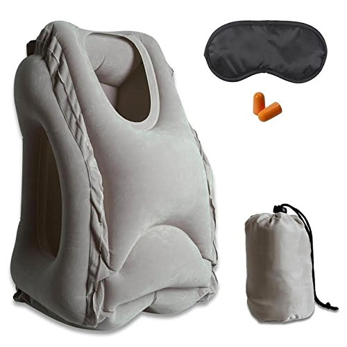 Black Bus INVICTUS Inflatable Travel Pillow,Ergonomic And Portable Head Neck Rest Pillow For Airplanes Cars Trains T-5 Office Full Support-Includes Sleep Goggle