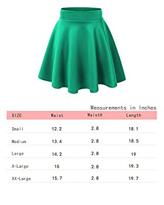 Aenlley Womens Basic Shirts Stretchy Short Pleated Circle Flared Skater Skirt