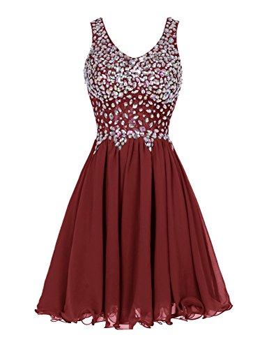 ALAGIRLS Chiffon Straps Prom Dress Short Beading Homecoming Party Dress Burgundy2