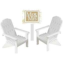 CakeSupplyShop White Small Mini Decorative Adirondack Plastic Beach Chair Wedding Anniversary Cake Decoration Toy Toppers (Set of 2)
