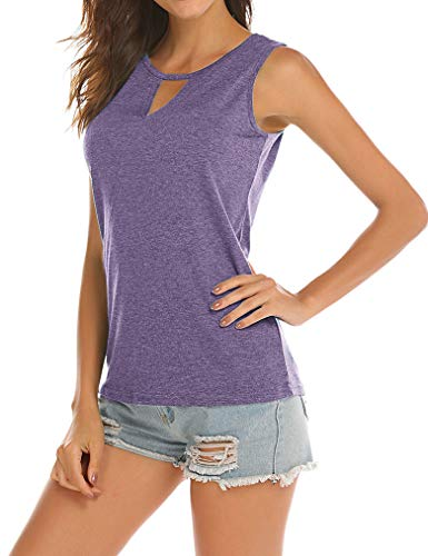 Poetsky Womens Backless Tank Tops Sleeveless Keyhole Blouse Sexy Summer Tshirt (XXL, Lavender)