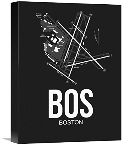 """Naxart Studio BOS Boston Airport Black Giclee on Canvas, 12"""" by 1.5"""" by 16"""" from Naxart Studio"""