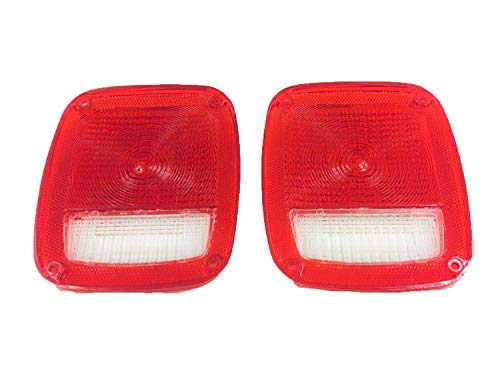 (A-Team Performance Acrylic Rear Tail Light Taillight Lens Set Compatible with Jeep Wrangler CJ 76-86 TJ YJ)