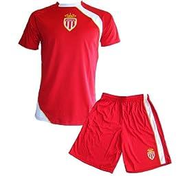AS MONACO Maillot + Short Junior ASM - Collection Officielle Football Club Ligue 1 - Taille Enfant garçon