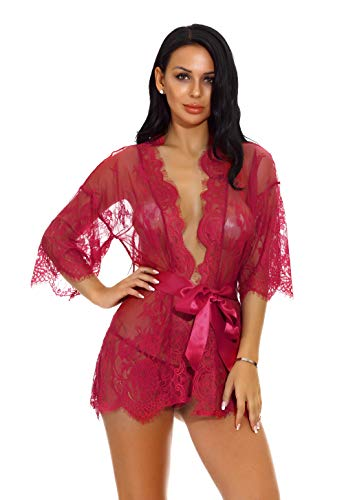 (Women Lace Pool Coverup Dress with Long Sleeve Mesh Kimono Kaftan (Wine Red,S))
