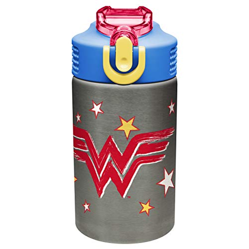 Zak Designs Wonder Woman 15.5oz Stainless Steel Kids Water Bottle with Flip-up Straw Spout - BPA Free Durable Design, Wonder Woman SS