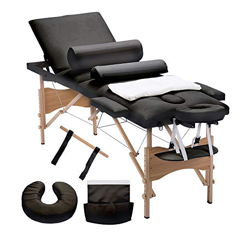 "4HOMART Folding Massage Table 84"" Professional Portable 3 Fold Facial Massage Bed Salon SPA with Sheet, Cradle Cover, 2 Bolster with Backrest with Carry Case Black"