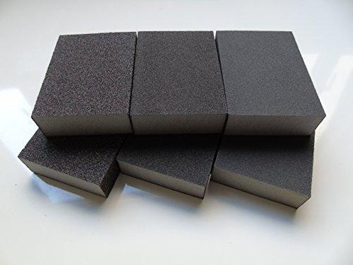 6 x Wet and Dry Abrasive Sanding Block Sponge Mixed Grades Fine 180/220 ,Medium 100/120 , Coarse 60 ( 6  BLOCKS) DOMSDIYSTORE