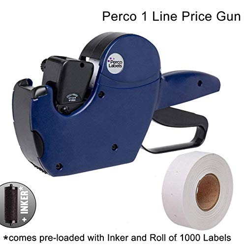 Gun Line Labels (Perco 1 Line Price Gun - Includes 1 Line Pricing Gun, 1,000 White Labels, and Pre-Loaded Ink Roll)