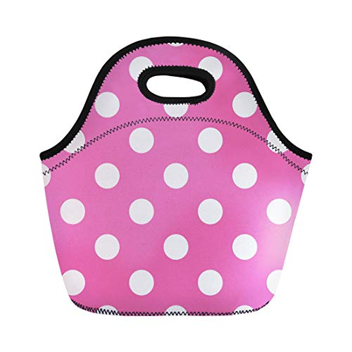 Pink Polka Dot Tote - Semtomn Lunch Bags Pattern White Abstract Pink Polka Dot Colorful Circle Color Neoprene Lunch Bag Lunchbox Tote Bag Portable Picnic Bag Cooler Bag