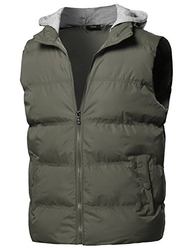 8520dc4b40cbaa Youstar Solid Drawstring Hooded Outdoor Padded Vest Olive Size L