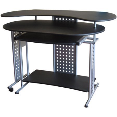 Expandable Computer Desk, L - Shaped Design, Keyboard Tray , Storage Shelves, Contemporary Style, Gray Frame, Office Desk, Large Space Storage, Office Furniture
