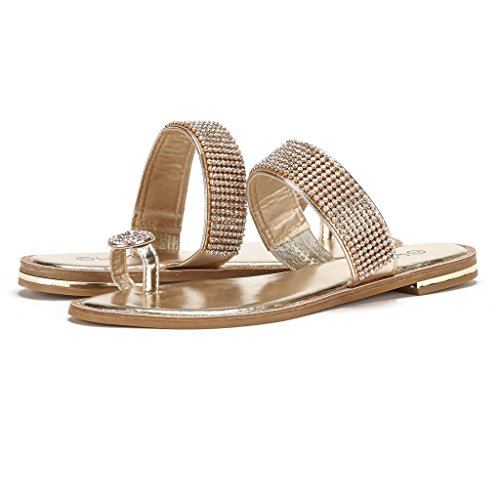 DREAM PAIRS FANTASIA Women Rhinestones Toe Ring Summer Flat Sandals Gold Size 9