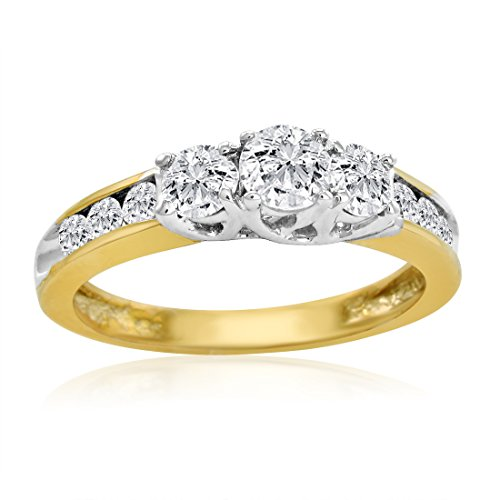 IGI Certified 10K Yellow Gold Three Stone Plus Diamond Anniversary Ring 1ct total weight (Available Sizes 5-8) SZ5