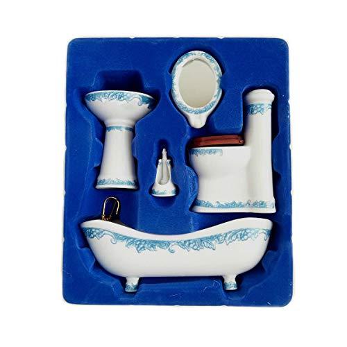 Dollhouse Miniature Ceramic Bathroom Set Supplies Suites 1:12 Scale Model B ()